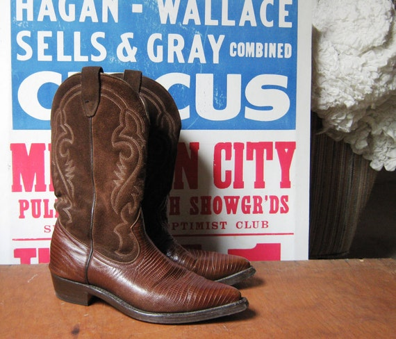 Vintage Cowboy Boots Brown Leather 1980's Boulet