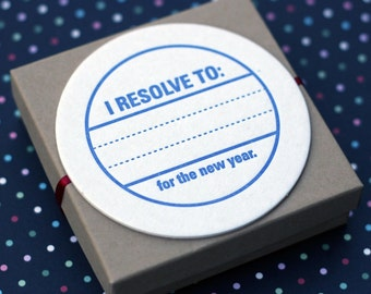 Letterpress Coasters - New Years Resolution (set of 30)