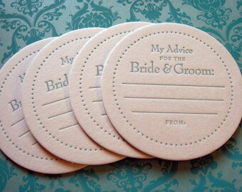 Letterpress Coasters- advice for the bride and groom (set of 100)
