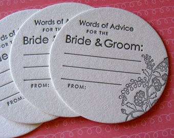Letterpress Coasters - advice for the bride and groom (set of 30)
