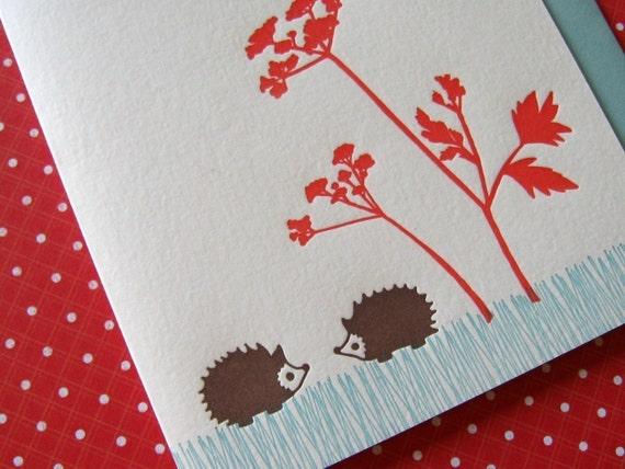 Letterpress Thank You Notes Set - hedgehogs