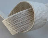 "2 Yards 1.25"" Natural Heavyweight Cotton Webbing For Key Fobs Handbags Totes"