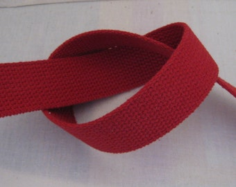 "Cotton Webbing 1 1/4"" RED For Key Fobs Handbags Belts"