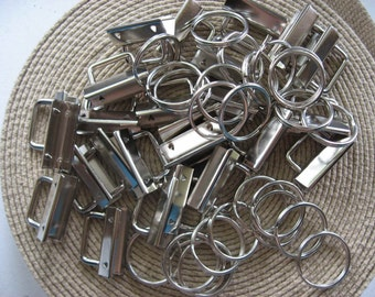 Key Fobs Hardware Nickel Rectangular Top sets 50 SETS-1.25""