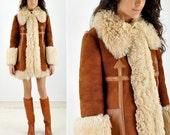 Vintage 1970s SHEARLING Boho Coat