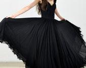 Vintage Maxi Length Black Silk Evening Gown