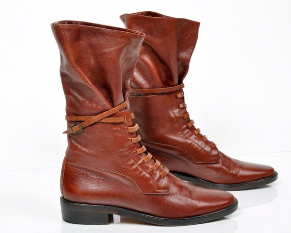 vintage RICH BROWN LEATHER boots - us 9.5 / Europe 41 / uk 7 / au 8