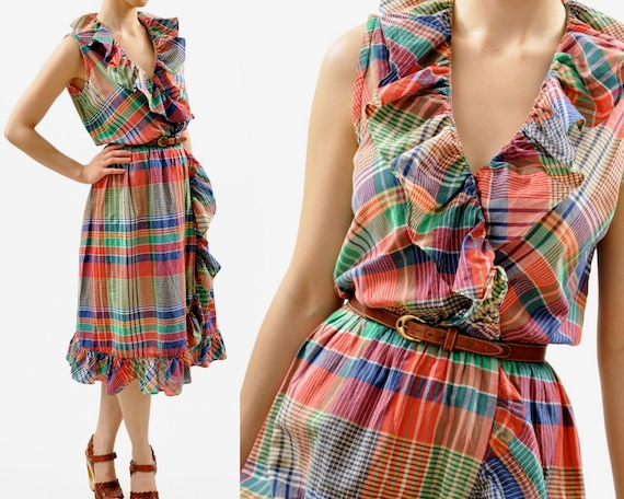 vintage RED PLAID RUFFLE summer dress