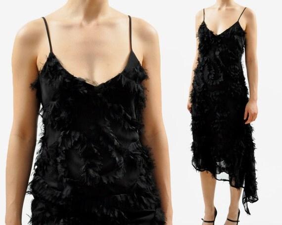 SALE - vintage ASYMMETRICAL RUFFLE party dress