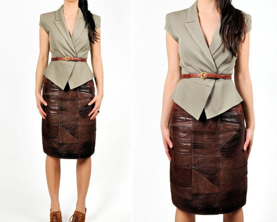 vintage 1970s Benard Azari PATCHWORK LEATHER skirt