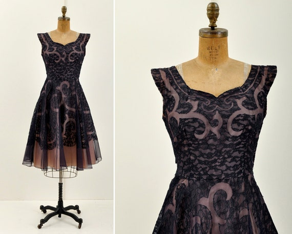 reserved - 50s Tulle Lace Party Dress