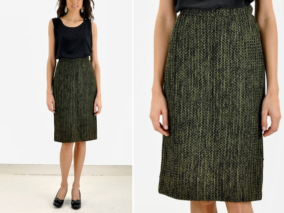 Reserved // 60s Green Knit Pencil Skirt