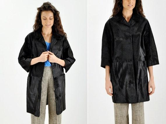 RESERVED through 9/4 - Black Pony Hair Coat