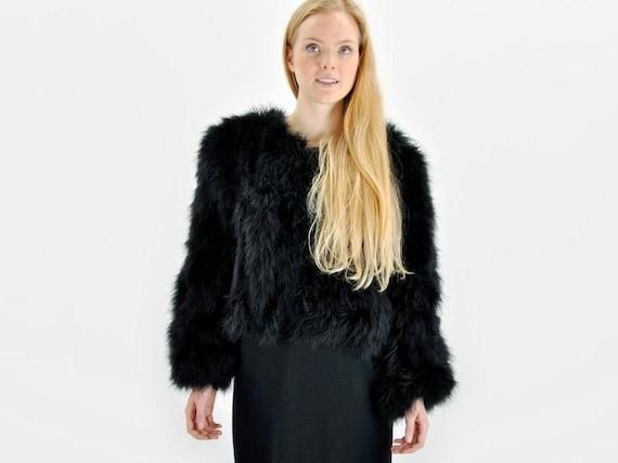 Black Marabou Feather Jacket