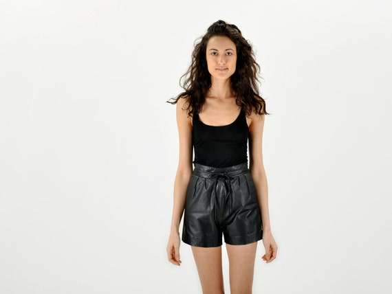 unique black leather shorts with WRAPAROUND WAIST ties