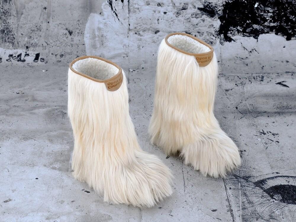 Vintage Apres Goat Hair Fur Boots Us 6 5 7 5 Europe 37 38