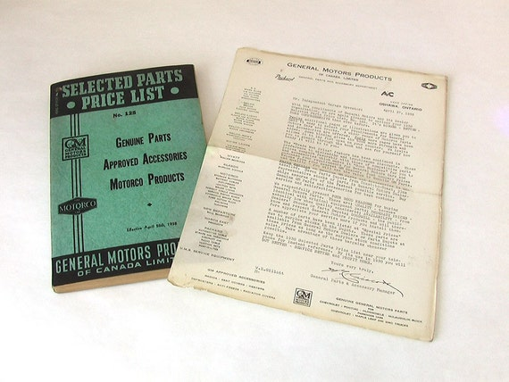 Rare 1938 GM Selected Parts Price List Canadian Book no.125 with original compliments of GM shipping letter