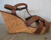 Steve Madden leather with cork platform shoes Size 7