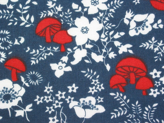 Vintage Fabric 70s Red Mushroom and Poppy on Blue