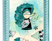 Ocean theme illustration Print - Marina and her fishes