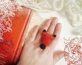 Fox Ring. Plush ring. Orange fox. Weird jewelry.