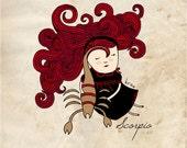 Scorpio Art, Wall Print, Zodiac Scorpio, Astrology Illustration, Scorpion