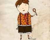 Virgo boy print, illustration, zodiac print, astrology, boy room