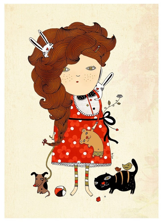 Girl with toy print. Children illustration. Nursery room. Wall art.