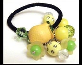 Lemon Lime Button Pony Os Hair Jewelry Ponytail Holder