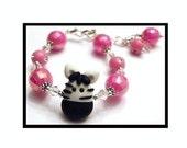 M2MG Wild Zebra Bracelet Polymer Clay Pink Black White