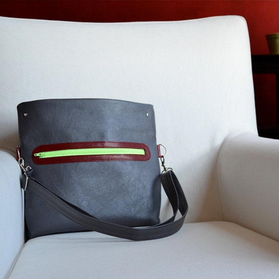 The Abby Foldover Satchel in Grey - MADE TO ORDER