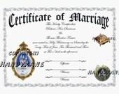 Wedding gold Cinderella Marriage Favors Keepsake Certificate