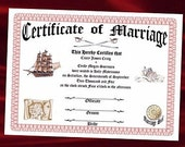 Wedding Favors Keepsake Certificate Treasure Map sailor pirate Theme