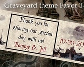 custom order qty 150 Graveyard Halloween Wedding Favors Favor Tags