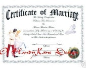 Wedding gift Cinderella favors Keepsake Marriage Certificate