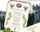 qty 75 Irish Claddagh Celtic Clover Wedding Scroll Invitations St Patrick's Day IRELAND Luck Lucky scrolls addressed envelopes seals