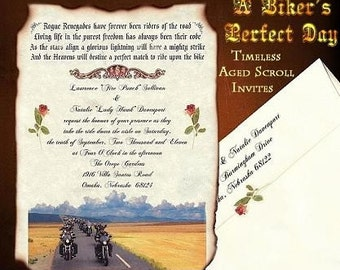 qty 25 Biker harley Motorcycle Wedding Invites Invitations Scrolls and Envelopes