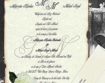 custom - qty 75 half size - Wedding Invites Scroll Invitations Love Letter Monogram Theme 2wk exp
