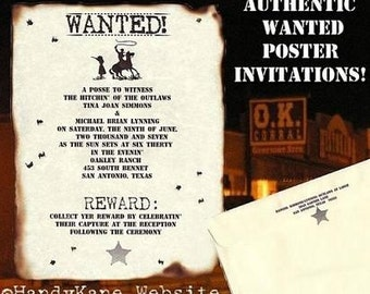 Sale 26% Off - Qty 75 Western WANTED poster Cowboy Wedding Invites Country Scroll Wedding Invitations