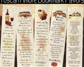 Tuscan Amore Italian Wedding Favors Bookmarks qty 100