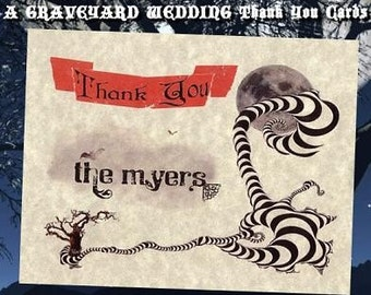 qty 50 Halloween Graveyard Wedding Favors Thank You Cards