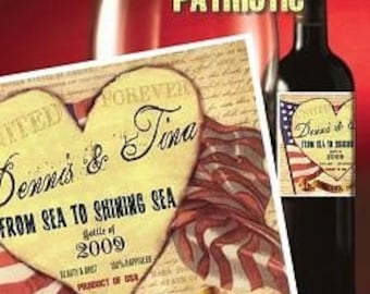Military Patriotic Theme Wedding Favors Wine Labels qty 12