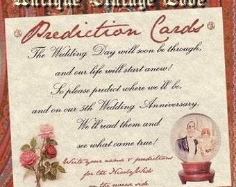 Wedding Favors Antique Vintage Love Prediction Cards qty 50