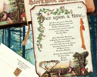 Custom qty 60 First Birthday Invitations Storybook Fairy Tale butterfly cinderella Scrolls ancient vintage pkg fairies prince charming