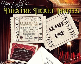 Qty 200 Nostalgic Movie Ticket Wedding Invitations and Reception Cards