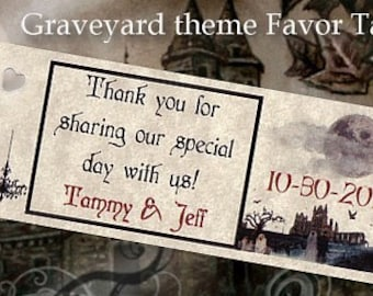 qty 75 Graveyard Halloween Wedding Favors Favor Tags