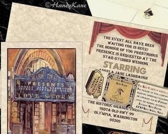 125 Theatre Movie Old Hollywood Wedding Invitations Tickets Graduation, Quinceanera, Birthday, Sweet 16, Anniversary