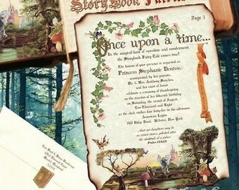 custom order 100 Storybook fairytale scroll invitations wedding party birthday anniversary quinceanera