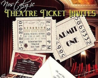 qty 200 Wedding Invitations Hollywood Movie Tickets and RSVP Response Cards