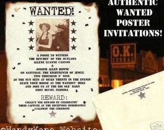 Photo Western Wanted Cowboy Wedding Scroll Invitations qty 75